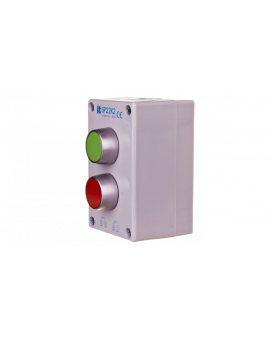 Kaseta sterownicza 2-otworowa z przyciskami zielony/czerwony szara IP65 SP22K2\01-1