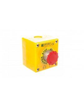 Kaseta z przyciskiem bezpieczeństwa przez obrót 1R IP65 żółta 1x dławnica M20 SP22K1\05-1