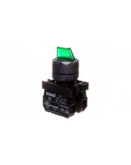 Przycisk pokrętny 3 położeniowy 2R jednostronnie niestabilny podświetlany 100-250V zielony T0-B101SL31Y