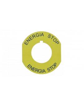 Tabliczka opisowa żółta okrągła fi42 ENERGIA STOP ST22-4509\P02