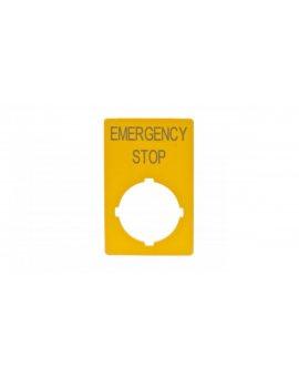 Tabliczka opisowa żółta prostokątna EMERGENCY STOP M22-XZK-GB99 216472