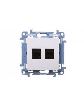 Simon 10 Gniazdo komputerowe podwójne 2xRJ45 kat.5e białe C52.01/11