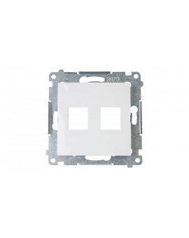 Simon 54 Pokrywa gniazda teleinformatycznego podwójnego 2xRJ Keystone płaska biała DKP2.01/11