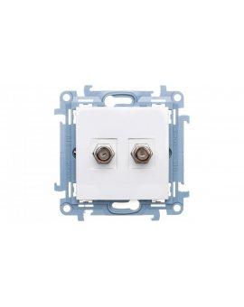Simon 10 Gniazdo antenowe podwójnetypu F biały CASF2.01/11