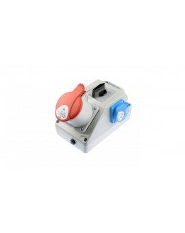 Zestaw instalacyjny z gniazdem 32A 5P+2P+Z (L-0-P) czerwony ZI05\R461