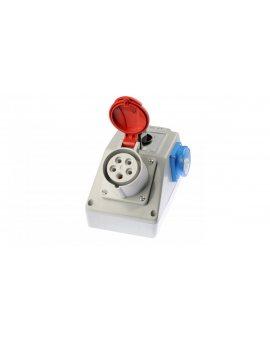 Zestaw instalacyjny z gniazdem 16A 5P+2P+Z (0-1) czerwony ZI03\R211