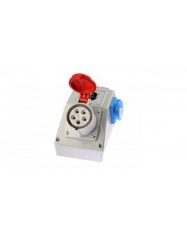 Zestaw instalacyjny z gniazdem 16A 5P+2P+Z (L-0-P) czerwony ZI03\R221