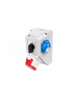 Zestaw instalacyjny z gniazdem 32A 4P+2P+Z (L-0-P) czerwony ZI05\R361