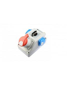 Zestaw instalacyjny z gniazdem 16A 5P+2x2P+Z (0-1) czerwony ZI04\R211