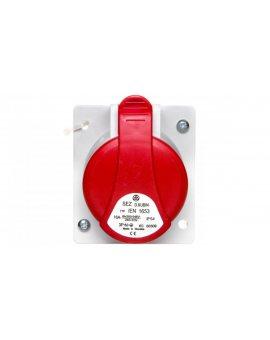 Gniazdo tablicowe skośne 5P 16A 400V czerwone podtynkowe z puszką IP44 GTPN 1653