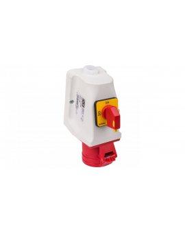 Gniazdo KOMBI z rozłącznikiem 0-1 M25 16A 5P 400V czerwone IP44 915-6w