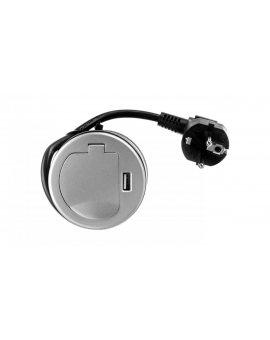 Gniazdo meblowe wpuszczane w blat 1x250V AC z pokrywką, ładowarką USB i przewodem 1, 8m OR-AE-1373
