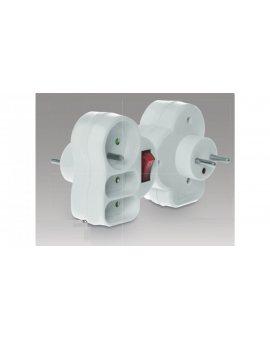 Rozgałęźnik wtyczkowy z wyłącznikiem 1-gniazdo z/u + 2x Euro biały R-12WS