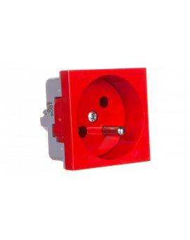 Gniazdo pojedyncze 16A 2P+Z czerwone QP 45X45 BB