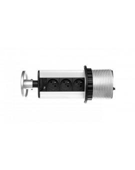 Gniazdo meblowe fi10cm, 3x250V AC wysuwane z blatu z przewodem 1, 8m srebrne OR-AE-1351