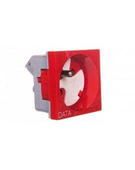 Gniazdo pojedyncze 250VAC 16A z/u z kluczem czerwone 45x45mm QP 45X45 D BB