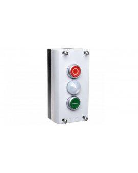 Kaseta sterownicza 3-otworowa START/STOP/lampka biała 2Z 2R szara IP67 M22-I3-M2 216533
