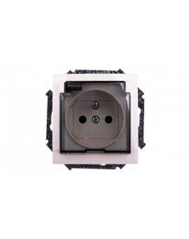 Simon 15 Gniazdo bryzgoszczelne z/u IP44 z klapką transparentną beżowe 1591940-031A
