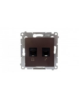 Simon 54 Gniazdo teleinformatyczne RJ45 kat.5e + RJ12 brąz mat D5T.01/46