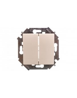 Simon 15 Przycisk podwójny zwierny dwuobwodowy: 2 wejścia 2 wyjścia 10AX 250V beż 1591396-031