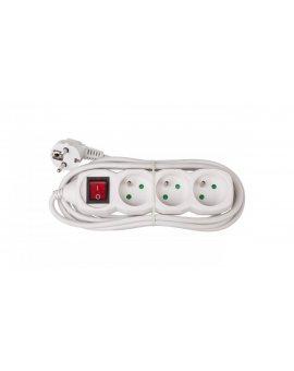 Przedłużacz z wyłącznikiem 3-gniazda z/u 3m /H05VV-F 3G1/ biały P1313