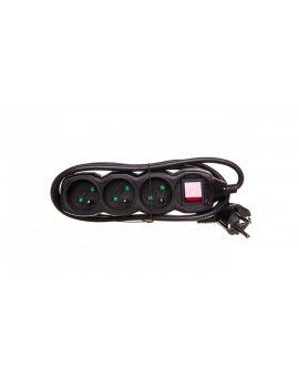 Przedłużacz z wyłącznikiem 3-gniazda z/u 1, 5m /H05VV-F 3G1/ czarny PC1311