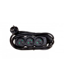 Przedłużacz 3-gniazda z/u 3m /H05VV-F 3G1/ czarny PC0313