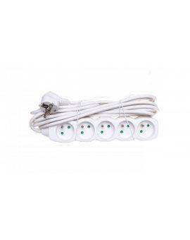 Przedłużacz 5-gniazd z/u 5m /H05VV-F 3G1/ biały P0515