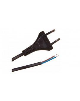 Przewód z płaską wtyczką b/u H03VVH2-F 2x0, 5 czarny S-13-0, 5-2-2 /2m/
