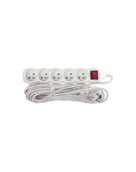 Przedłużacz z wyłącznikiem 5-gniazd z/u 7m /H05VV-F 3G1/ biały P1517