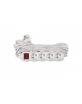 Przedłużacz z wyłącznikiem 4-gniazda z/u 10m /H05VV-F 3G1/ biały P1410