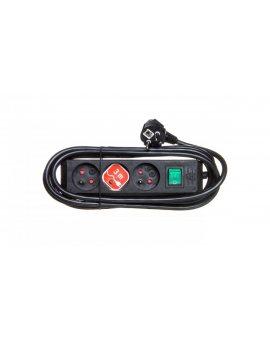 Listwa zasilajaca Eco-Line 3m /z wyłącznikiem/ 3x230V czarna H05VV-F 3G1, 5 1152304130