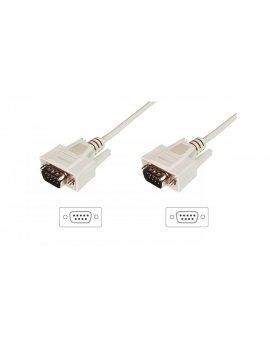 Kabel połączeniowy RS232 1:1 Typ DSUB9/DSUB9, M/M beżowy 3m AK-610107-030-E
