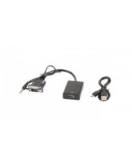 Adapter VGA(M)+MINIJACK 3.5MM(M)->HDMI(F) na kablu 20CM czarny LANBERG