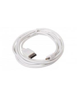 Kabel połączeniowy miniDisplayPort 1.1a Typ miniDP/DP, M/M biały 3m AK-340102-030-W