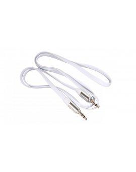 Przewód jack 3.5mm, płaski 1m, metalowy wtyk, white Maclean MCTV-694 W MCTV-694
