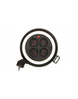 Kompaktowy przedłużacz 3m zwijany Comfort-Line CLS 4x230V czarny/biały H05VV-F 3G1, 5 1109224