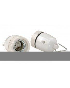Oprawka ceramiczna z uchwytem E27 biała AE-OCEF27-00