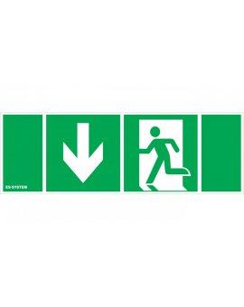 Piktogram 100x300 (111x311) Drzwi ewakuacyjne W dół lewo 9849381