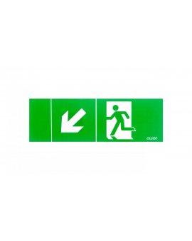 Piktogram 100x300 PM22 obrotowa strzałka człowiek w drzwiach logo awex (ISO7010)