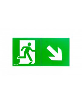 Piktogram 150x300 PD23 człowiek w drzwiach obrotowa strzałka logo awex (ISO7010)