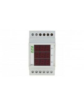 Woltomierz 3-fazowy cyfrowy modułowy 100-300V AC dokładność 1% DMV-3