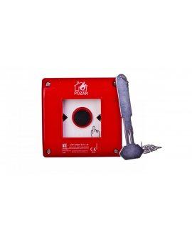 Przycisk ppoż. natynkowy 1Z 1R czerwony z młotkiem OP1-W01-B\11-M
