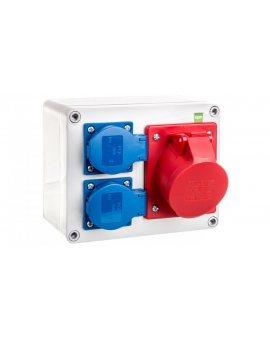 Rozdzielnica budowlana RS 2x2P+Z 3P+N+Z/16A n/t bez zabezpieczeń IP44 szara 6203-00