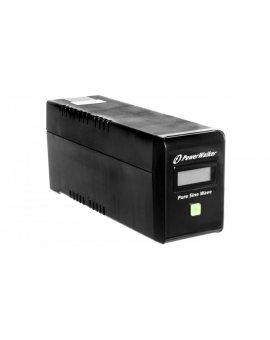 UPS POWER WALKER LINE-INTERACTIVE 600VA 2x PL 230V, czysta sinusoida, RJ11/45 IN/OUT, USB, LCD VI 600 SW/FR