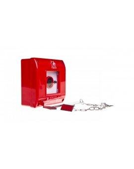 Przycisk przeciwpożarowy natynkowy 1Z czerwony z młotkiem OP1-W01-A\10-M
