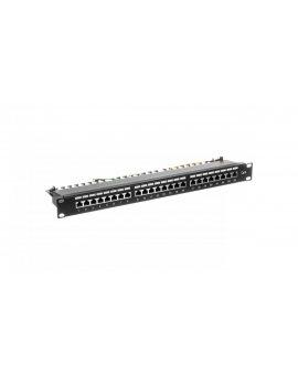Patch panel kompletny 19 cali 24x RJ45 S/FTP kat. 6 1U z tacką czarny (RAL 9005) DN-91624S-EC