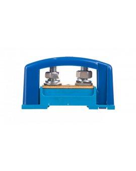 Zacisk ochronny 2xM8 niebieski z pokrywą na szynę TH35 E.4122P