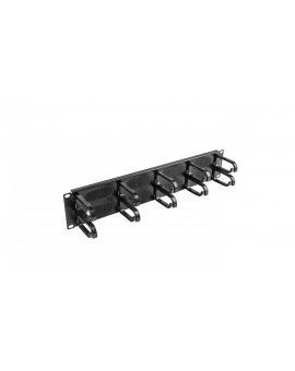 Organizer kabli 19'' 2U z 5 uchwytami typ B + panel szczotkowany czarny AK-1204-B