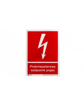 Naklejka ostrzegawcza /Przeciwpożarowy wyłącznik prądu 150x205/ 31P/F1/FS